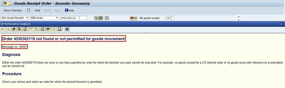 Goods Receipt Error - Master SAP Skills