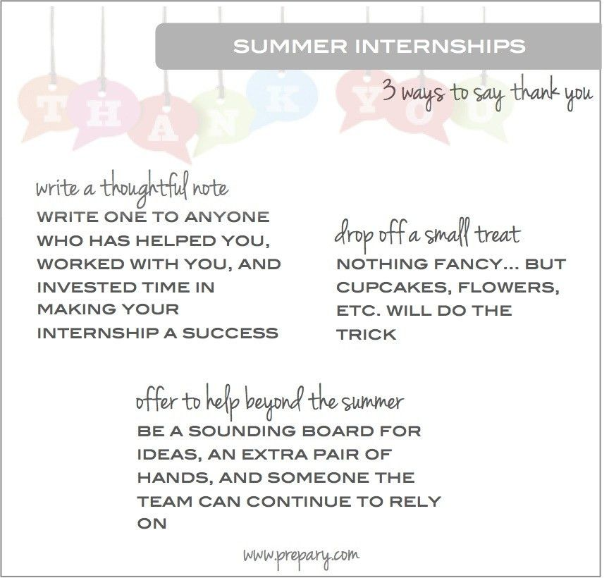 Ways to say thank you at the end of your summer internship - The ...
