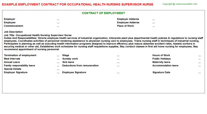 Occupational Health Nursing Supervisor Nurse Employment Contract