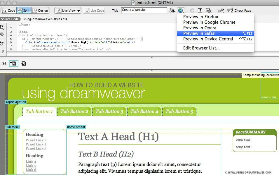Create a Web Page from a Dreamweaver Template | Using Dreamweaver