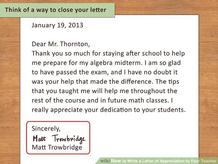 How to Write a Letter of Appreciation to Your Teacher: 13 Steps