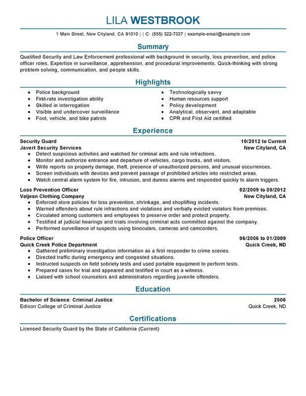 Impactful Professional Law Enforcement Security Resume Examples ...