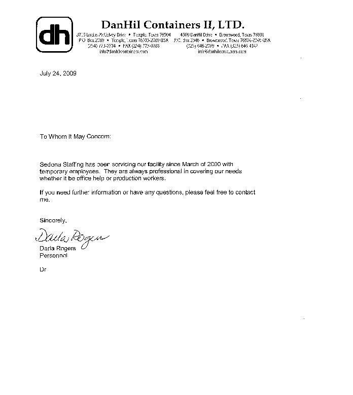 Professional Reference Letters. Professional Reference Letter For ...