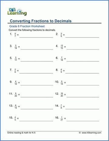Grade 6 Fractions vs Decimals Worksheets - free & printable | K5 ...