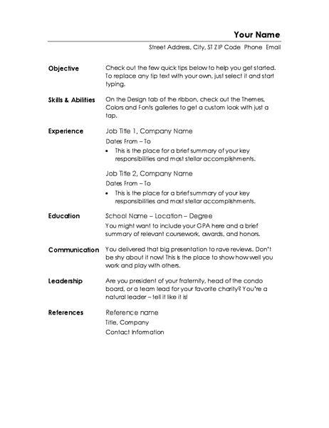 Functional resume (Minimalist design) - Office Templates