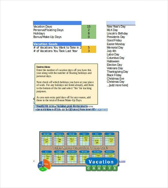 Vacation Tracking Template – 11+ Free Word, Excel, PDF Documents ...