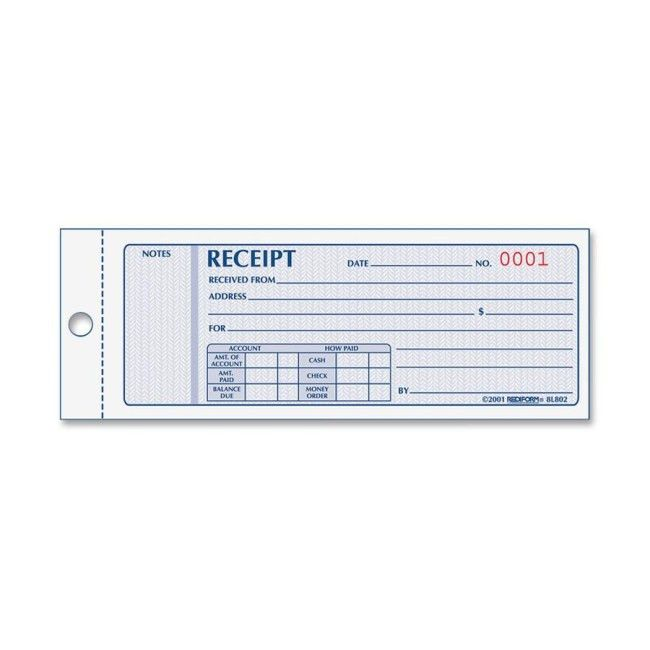 Rediform 8L802 Monthly Carbonless Receipt Manifold Book 150 Sheet ...