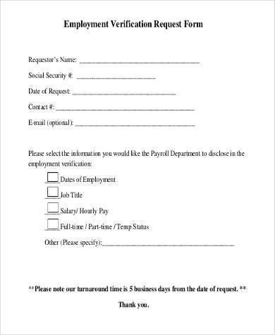 Captivating Sample Employment Verification Request Forms   9+ Free Documents .