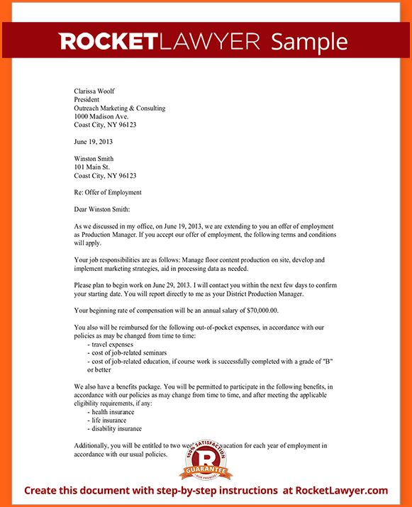 6+ employment offer letter template - Budget Template Letter