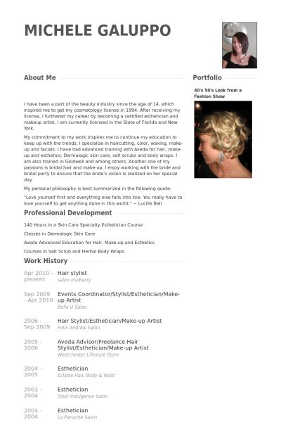 Hair Stylist Resume samples - VisualCV resume samples database