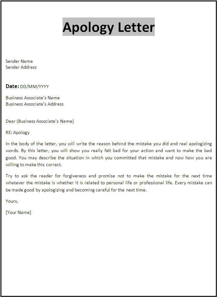 Letter Of Apology To Boss [Template.billybullock.us ]