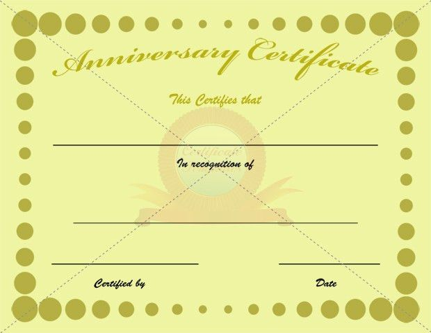 Anniversary Certificate | Certificate Template | Pinterest ...
