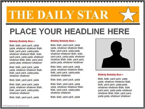 Editable Newspaper Template. free newspaper template 20 free word ...