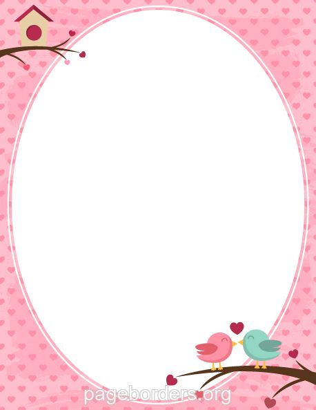 Printable lovebird border. Use the border in Microsoft Word or ...