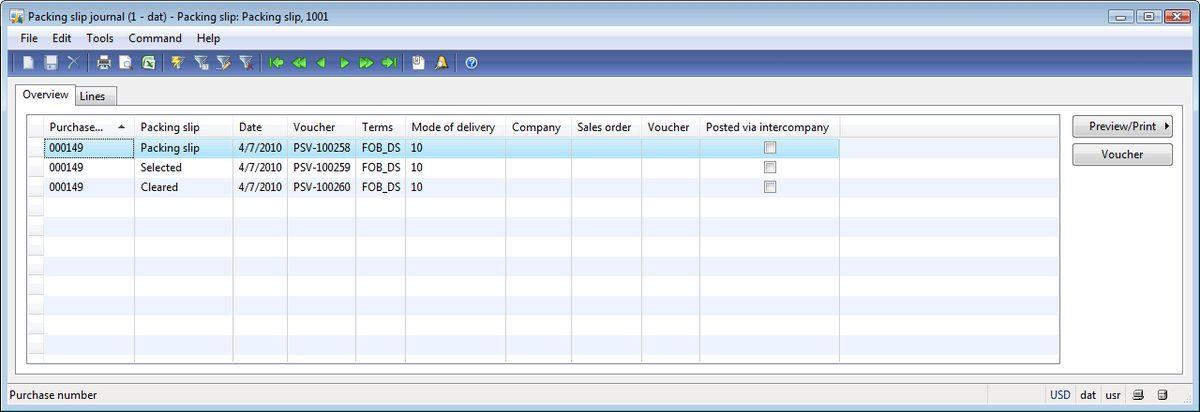 Posting packing slip form, Other tab | Dynamics AX Training
