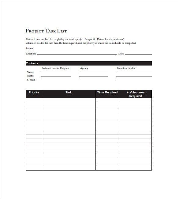 Task List Template - 10+ Free Word, Excel, PDF Format Download ...