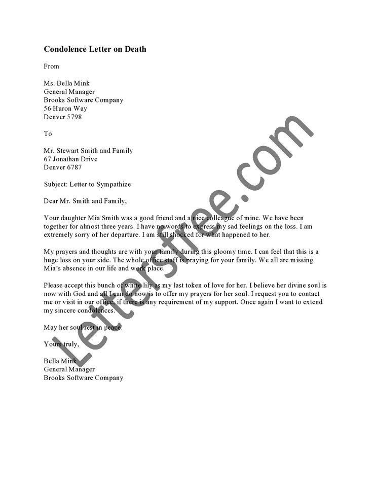 Comfort Letter Sample | The Best Letter Sample  Condolence Letter Sample
