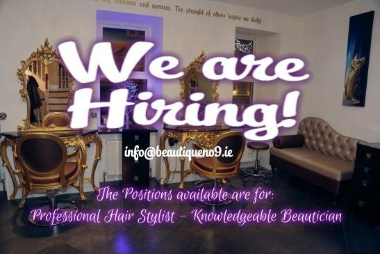 Hair and Beauty Jobs opportunity at Beautique no9 in Mullingar