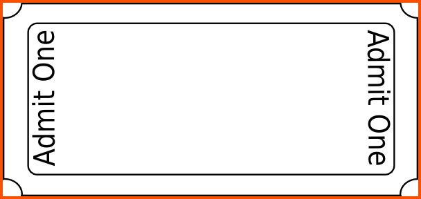 Simple Template for Admission Ticket with Blank Space and Orange ...