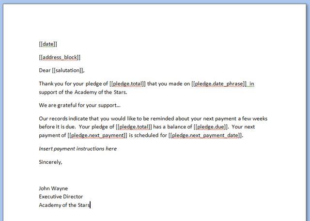 Sending pledge reminders or invoices - Little Green Light ...