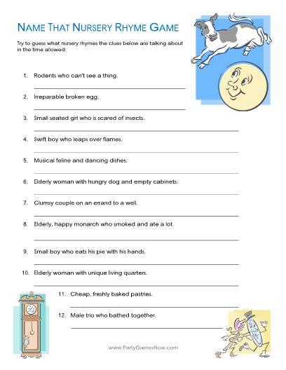 Name That Nursery Rhyme Quiz Game - Printable Baby Shower Games