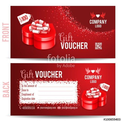 Gift voucher template with luxury red gift box in heart shape ...
