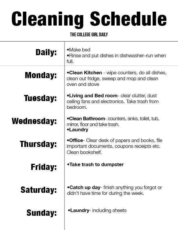 Apartment Cleaning Schedule | The InfluenceHer Collective ...