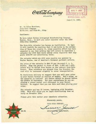 1929 Calendar Sales Letter: The Coca-Cola Company