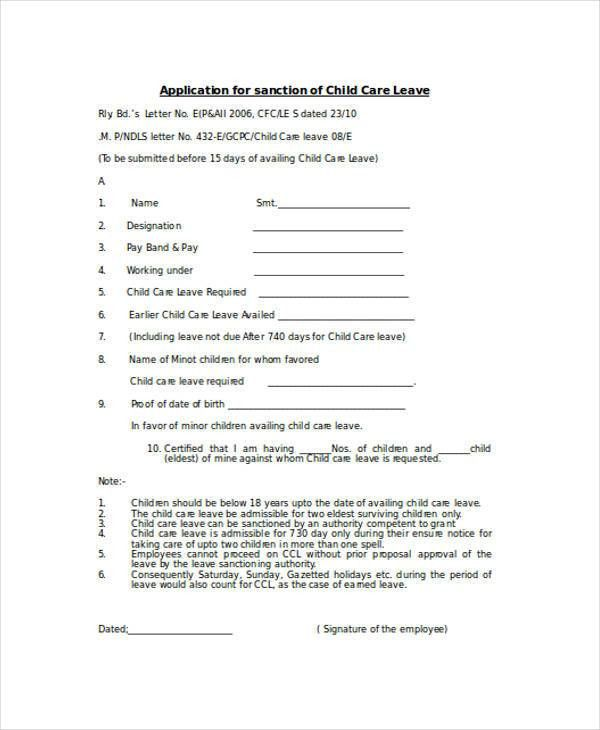 Sample Child Care Application Form - 9+ Free Documents in Word, PDF