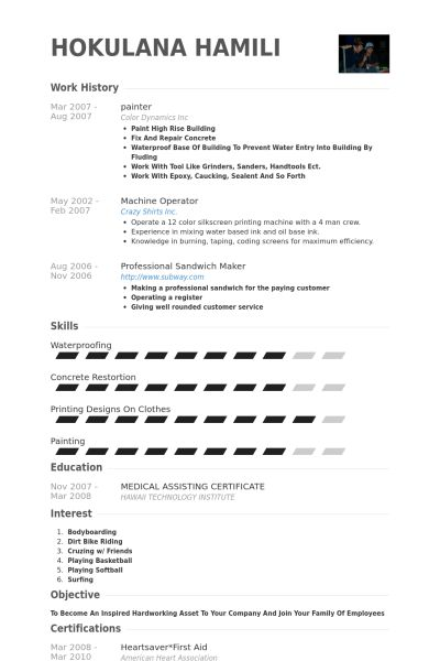 Painter Resume samples - VisualCV resume samples database