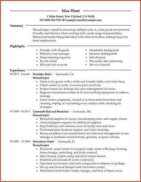 HOUSEKEEPER RESUME | proposal bid template