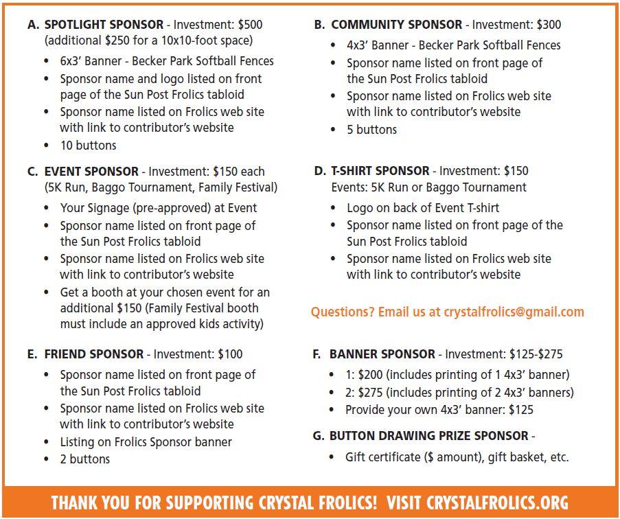 Sponsorship Form – Crystal Frolics