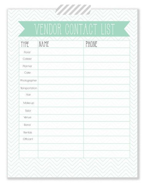 Vendor Contact List - free printable | I Thee Wed | Pinterest ...