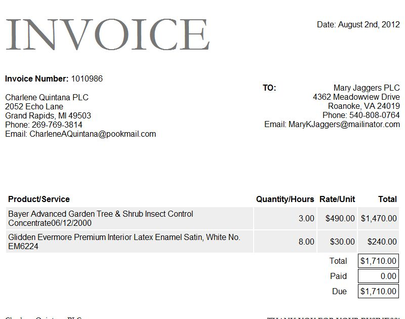Sample Auto Invoice Template – Invoice Software And Template ...