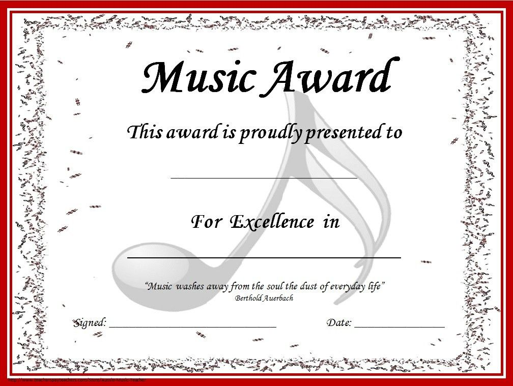 Music Award Certificates *editable | Music awards, Students and ...