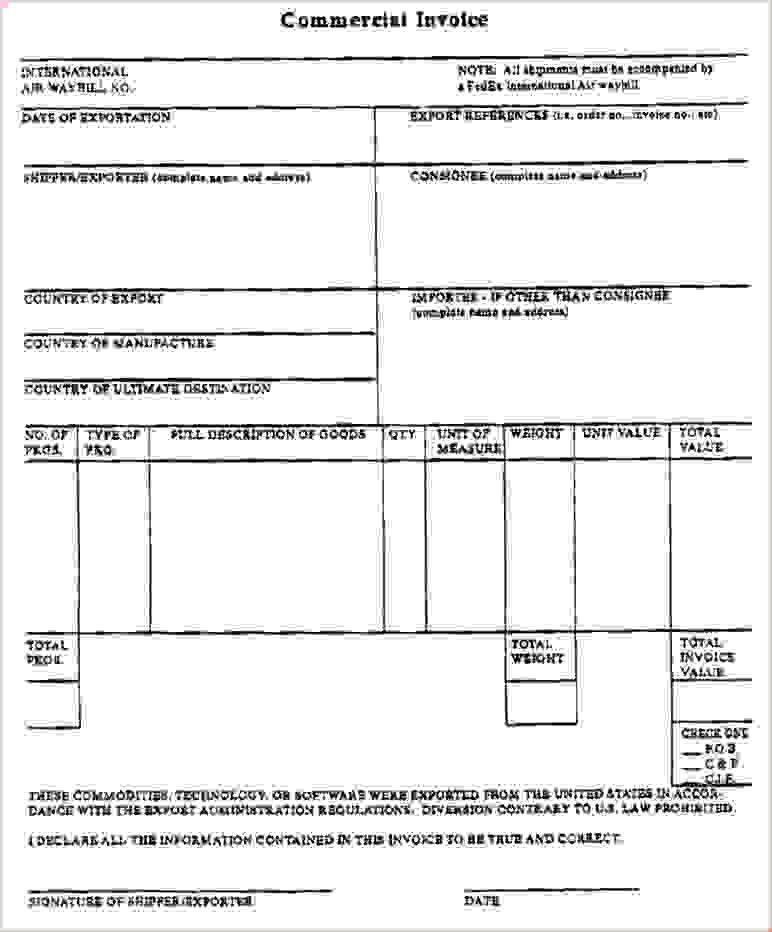 blank commercial invoiceReport Template Document | report template