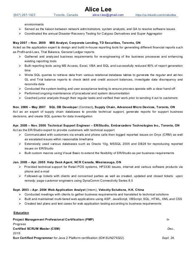 Alice Lee resume -- PM, Scrum Master Oct2016 - Finance