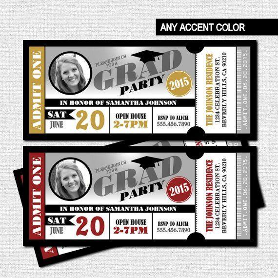 GRADUATION (GRAD) PARTY TICKET INVITATIONS - Any accent color ...
