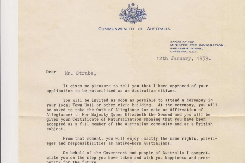 Welcome letter from immigration minister - ABC News (Australian ...
