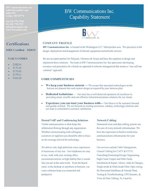 BW Communications Inc. - Capability Statement