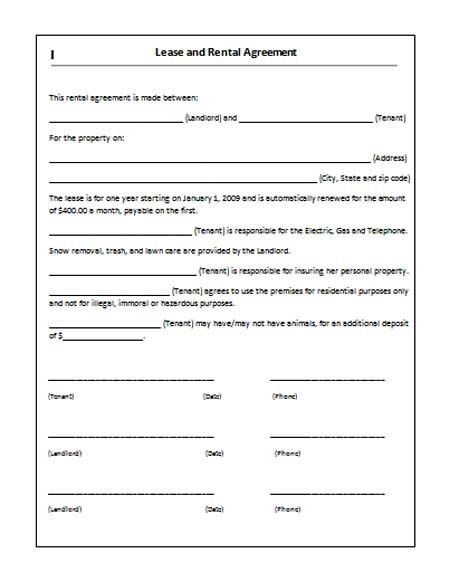 Printable Sample Rent Lease Agreement Form | Real Estate Forms ...