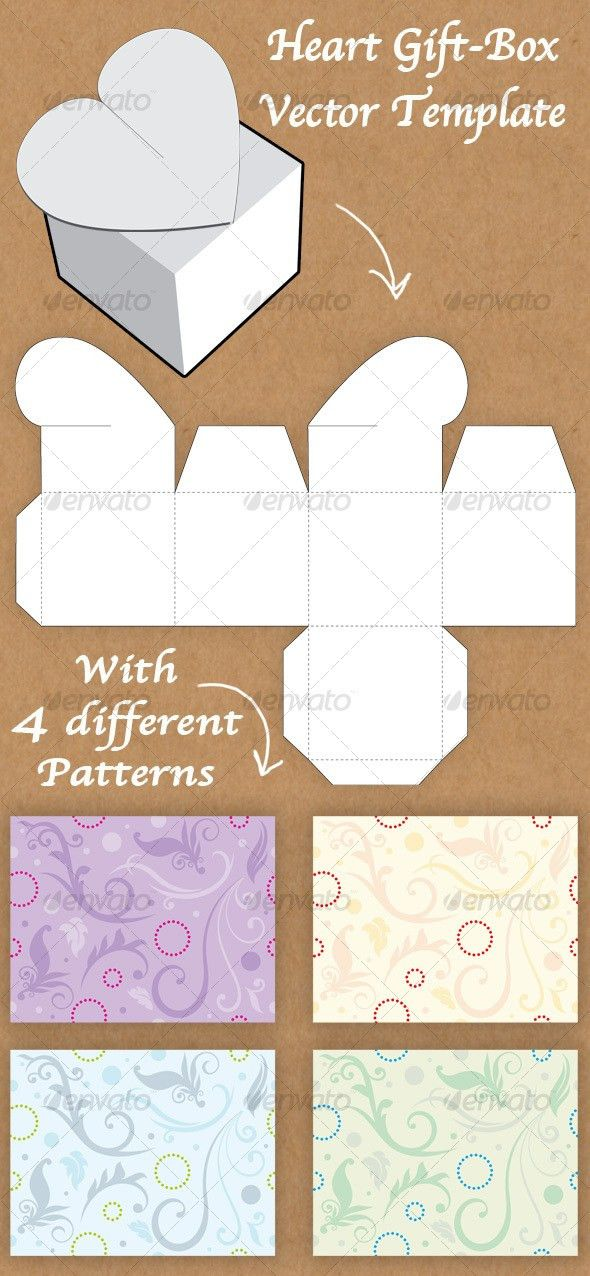 Heart Shaped Gift Box template | Gift box templates, Box templates ...