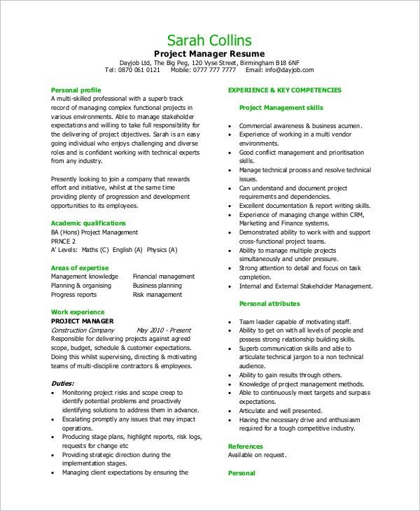 Sample Project Manager Resume - 8+ Examples in Word, PDF