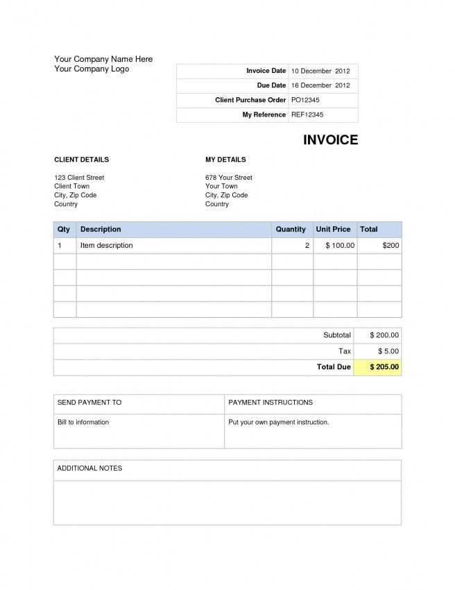 Word Document Invoice Template | Design Invoice Template