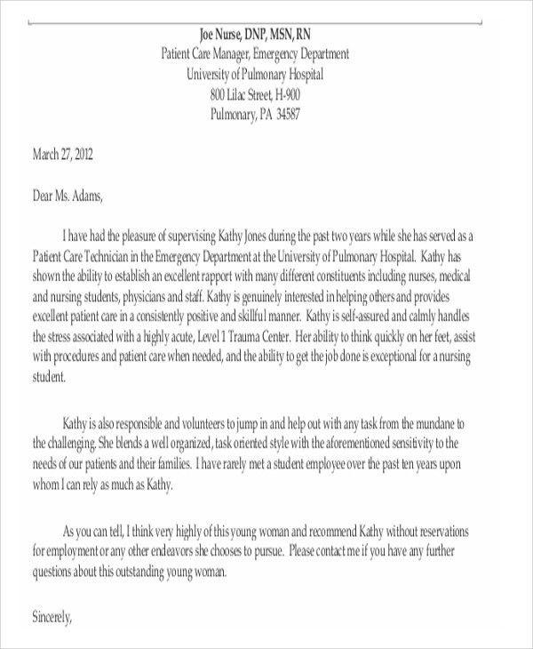 9+ Sample Nursing Reference Letter - Free Sample, Example Format ...