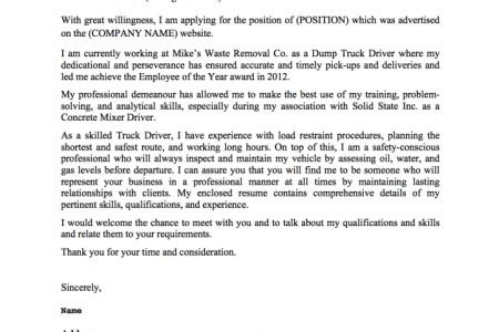 Armed Driver Cover Letter