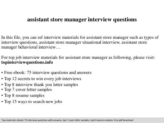 leading professional assistant store manager cover letter examples ...