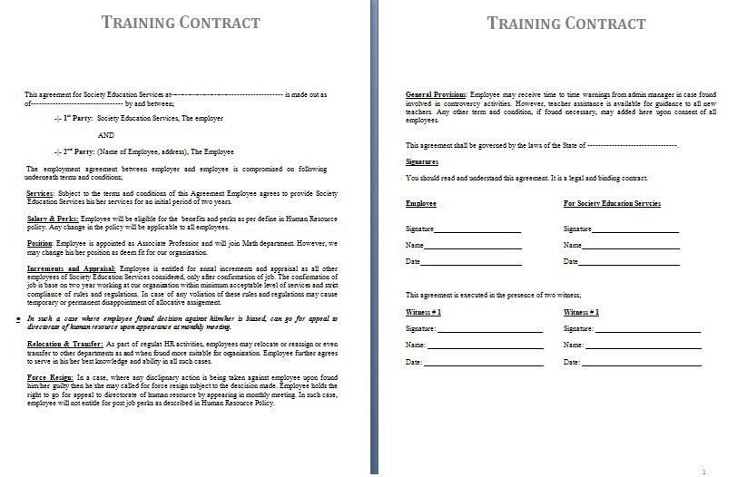 Training Contract Template | Contract Agreements, Formats & Examples