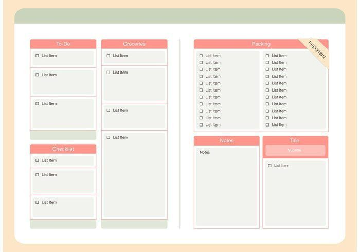 Modern Checklist Template Vector Set - Download Free Vector Art ...