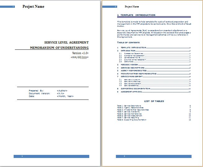 MS Word Service Level Agreement Template | Free Agreement Templates